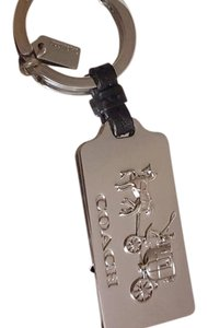 Coach HORSE AND CARRIAGE METAL SILVER HANGTAG KEY RING CHAIN