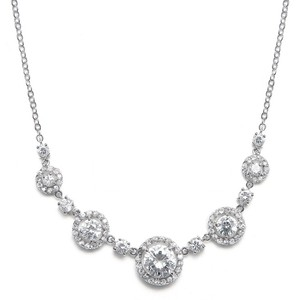 Mariell Silver Round Halo Cubic Zirconia 347n Necklace