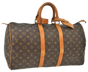 Louis Vuitton Vintage Leather Brown, Monogram Travel Bag