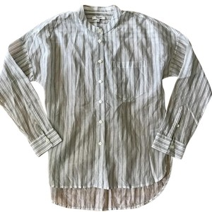 Madewell Popover Silk Jcrew Top Cream with black stripe