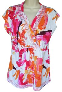 Calvin Klein Print Sleeveless Surplice Top Multicolor