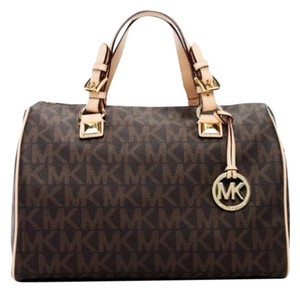 Michael Kors Monogram Classic Satchel in Brown