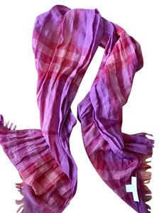 Burberry BURBERRY CHILDREN'S PLUM & PINK PLAID SCARF