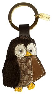 Coach Leather and Haircalf Signature Owl Key fob 92176
