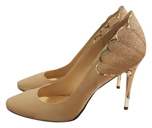 Nine West Rainiza Pump Satin Stiletto Gold Pumps