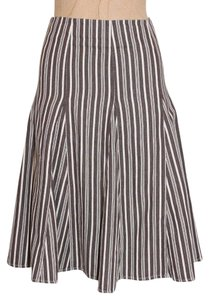 Boden A-line Striped Skirt BROWN
