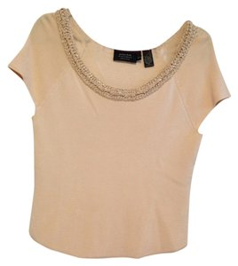 Dana Buchman Rayon Silk Silk Garniture Top Blush