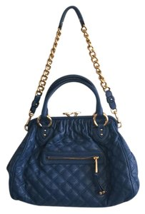 Marc Jacobs Stam Quilted Leather Satchel in Blue