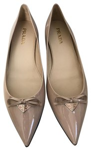Prada Patent Leather Logo Bow Nude Flats