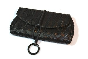 Rodo Satin Swaroski Elements Black Clutch