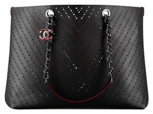 Chanel New Leather Tote in Black with Red Interior