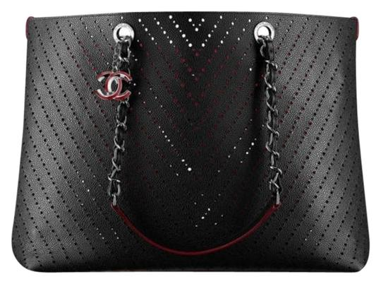 1a24cc71d00e58 Chanel Black Perforated Grained Calfskin Leather Tote Bag | Stanford ...