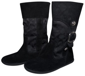 Coach Embossed C Design Winter Pull Suede Signature C Jacquard Black Boots