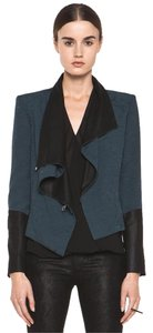 Helmut Lang Loose Jacket Leather Jacket Wrap Jacket High End Saphire Blue Blazer
