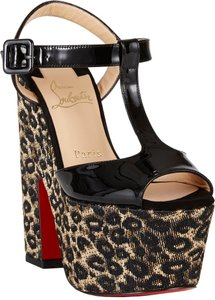 Christian Louboutin So Bella Leopard Raffia Platform T-strappy 7.5 37.5 Black, Animal Print Sandals