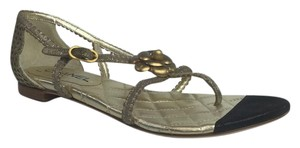 Chanel Gold and Black Sandals