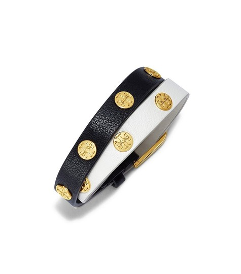 Preload https://item2.tradesy.com/images/tory-burch-black-and-white-stud-color-double-wrap-logo-bracelet-19928236-0-0.jpg?width=440&height=440