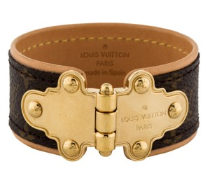 Louis Vuitton Brown tan leather Louis Vuitton Save It LV monogram bracelet