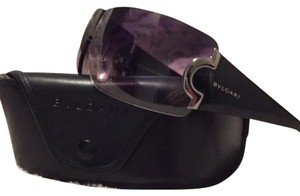 BVLGARI Shield style, Gradual-tint black & silver frames, tint is Blue-grey. Case Is Included.
