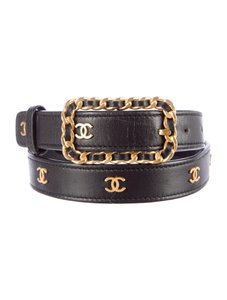 Chanel Belt CC Logo Gold Black Leather Mini Classic Chain Link Woven 65 26
