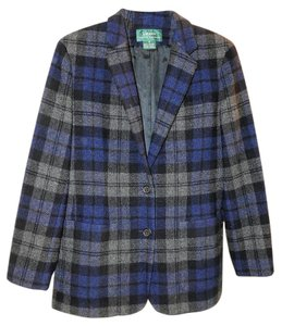 Ralph Lauren Classic Lined Lambswool Blue Plaid Blazer