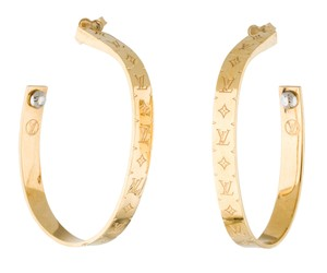 Louis Vuitton Gold-tone Louis Vuitton LV Nanogram Hoop Earrings