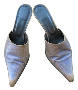 Donald J. Pliner denim distress metallic Mules