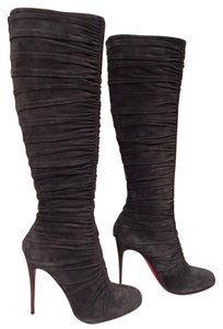 Christian Louboutin Vivazdine Stiletto Knee High Classic Scrunch grey Boots