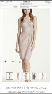 David's Bridal Rose Gold Short Tank Lace Dress