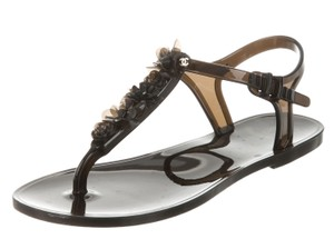 Chanel Jelly Interlocking Cc Gold Hardware Camellia Ankle Strap Black Flats