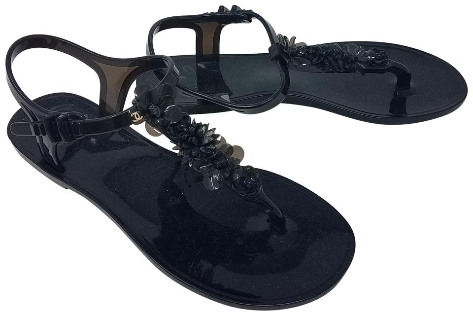 41165a36eb2a Chanel Black Jelly Camellia Interlocking Cc Strappy Sandals Flats ...
