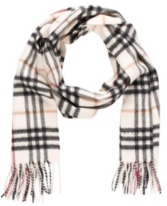 Burberry White multicolor cashmere Burberry Nova Check print scarf