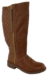 Divinus Quilted Knee High Camel Boots