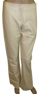 Cache Leather Lines Straight Pants White