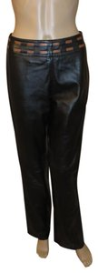 Cache Leather Lined Straight Pants Black