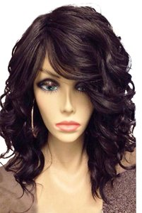 Boutique 9 Fluffy Black Curly Capless Stunning Medium Side Bang wig
