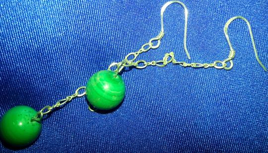 Other Malachite dangle earrings with 925 sterling.