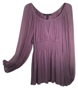 BCBGMAXAZRIA Peasant Sheer Princess Cut Free Anthroplogie Top Purple