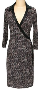 BCBGMAXAZRIA Silk Print Wrap Color-blocking Dress