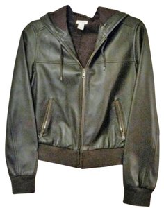 Halogen Leather Hooded Zip Up brown Leather Jacket