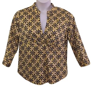 Talbots Print Empire Waist Top Yellow