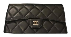 Chanel CHANEL Lambskin Quilted Large Flap Wallet Black with Silver Hardware