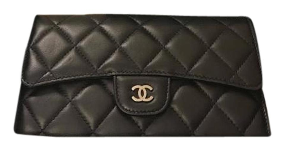 f17118ea09fa Chanel CHANEL Lambskin Quilted Large Flap Wallet Black with Silver Hardware  Image 0 ...