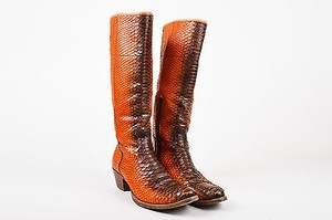 Prada Orange Python Leather Ombre Tall Stacked Heel Cowboy Brown Boots