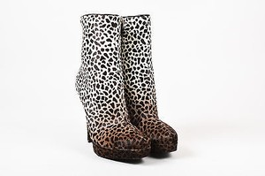 Gucci Cream Pony Hair Animal Print Mid Calf Tribtoo 80 Brown Boots