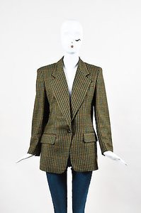 Burberry Vintage Burberrys Green Brown Red Plaid Wool Blazer Jacket