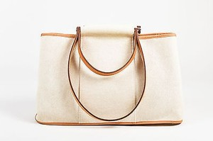 Hermès Tan Canvas Leather Double Strap Cabag Elan Tote in Beige