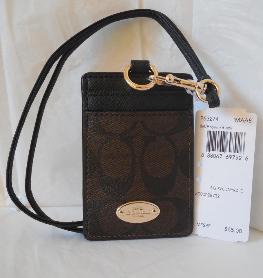 e0a7d587 Coach Black / Brown Signature C Pvc Canvas Leather Lanyard Badge Id Credit  Card Holder 63274 30% off retail