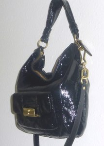 Coach Patent Leather Brass Hobo Bag