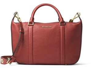 Michael Kors Raven Pebbled Leather Satchel in Brick / Gold